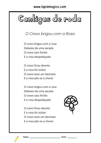 O Cravo Brigou Com a Rosa, ficha pdf nº1