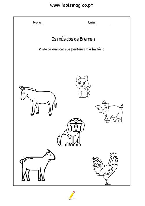 Os Músicos de Bremen, ficha pdf nº1