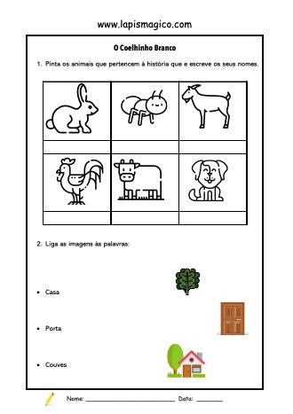 O Coelhinho Branco, ficha pdf nº1