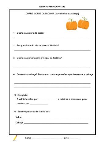 A Velhinha e a Cabaça, ficha pdf nº1
