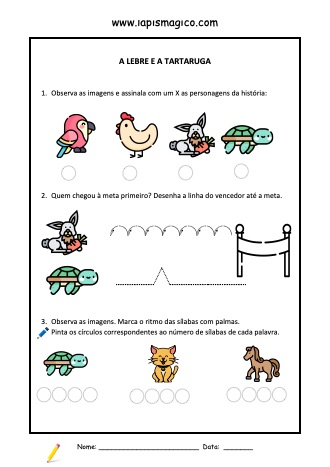 A Lebre e a Tartaruga, ficha pdf nº1