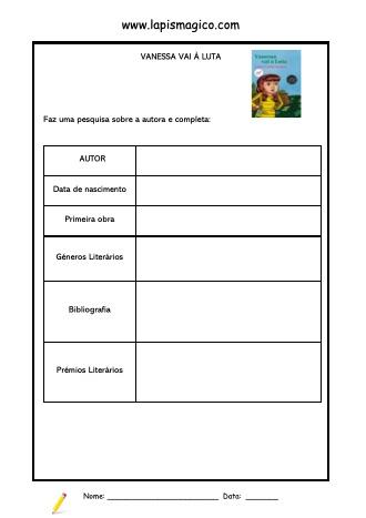 Vanessa Vai à Luta, ficha pdf nº1