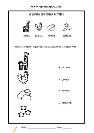 A girafa que comia estrelas, ficha pdf nº1