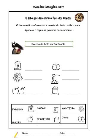 O Lobo que Descobriu o País dos Contos, ficha pdf nº1
